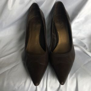 Connie brown heels, leather uppers